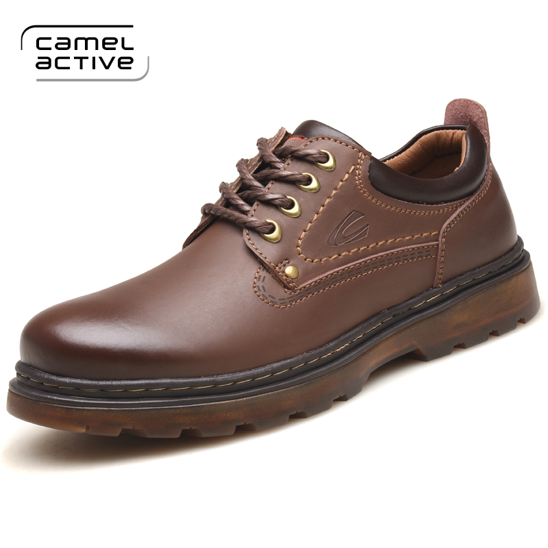 Camel Active Genuine Leather Men's Shoes 2018 Autumn Winter Casual Waterproof Work Shoes Outdoor Rubber Shoes Lace-up Oxfords все цены