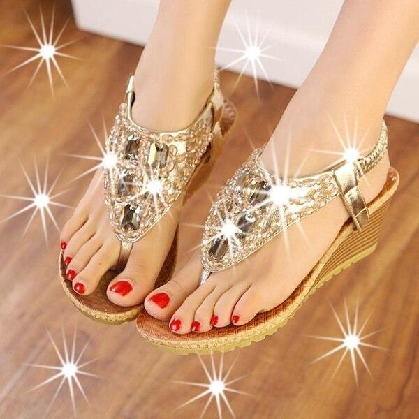 women's fashion shoes vintage shoe crystal wedge sandals 6 cm high heels platform sandals casual gladiator sandal BAOK-20fa