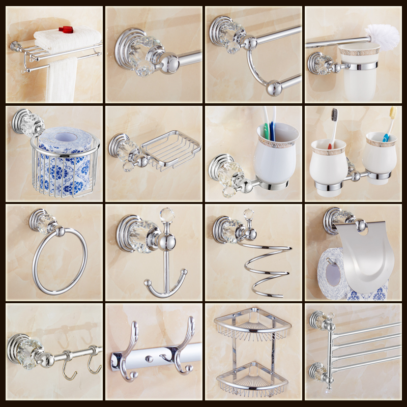 Free Shipping Luxury Crystal Copper Brass Chrome Bathroom Accessories Set  Silver Bath Hardware Set Bathroom Products