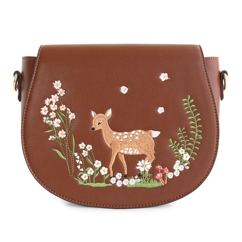 Fashion Women s PU Leather Messenger Bag Ladies Leisure Saddle Crossbody Bags Female Embroidery Cartoon Deer