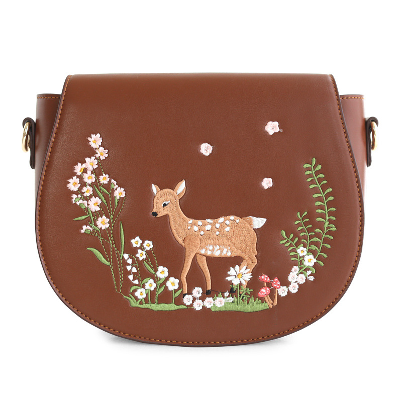 Fashion Women's PU Leather Messenger Bag Ladies Leisure Saddle Crossbody Bags Female Embroidery Cartoon Deer Shoulder Bags-in Top-Handle Bags from Luggage & Bags    1