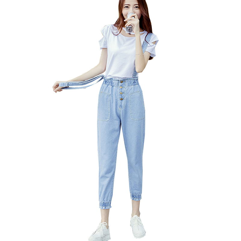 2017 Spring and Summer New Fashion Casual Tight Cowboy Suspender Trousers Ninth Pants Loose Jeans