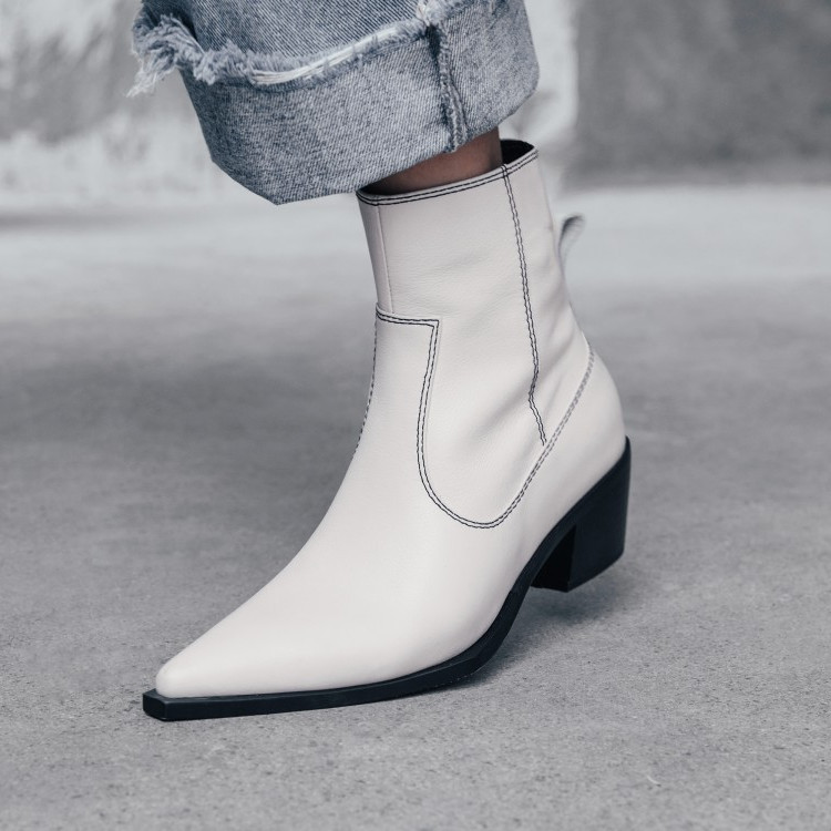 Womens Pointy Toe Block Heel Side Zip cowboy boots  Knight Ankle Boots Shoes