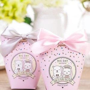Розовая нежная Подарочная коробка с кроликом и медведем, Подарочная сумка для вечеринки, шоколадная коробка для свадьбы, романтическая роз...