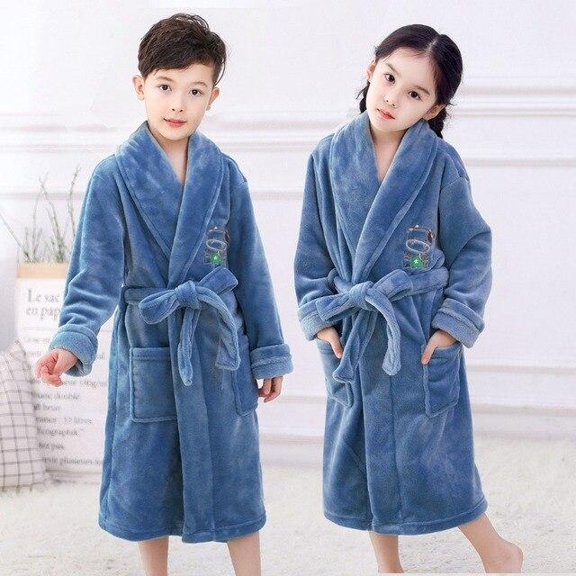 Модные фланелевые банные халаты для детей; мягкая одежда для сна для мальчиков-подростков; пижамы с принтом медведя из мультфильма; бархатн...