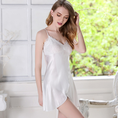 Lace Nightgowns Sleepdress Women Sleepwear Femme Sexy faux silk Night Dress Woman Apparel Sleep Lounge Nighty Hot
