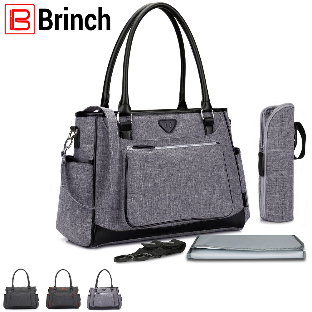 BRINCH Diaper Bag Brand Multifunction Maternity Baby Diaper Tote Bag Portable Shopping Handbag with Changing Pad Stroller Straps