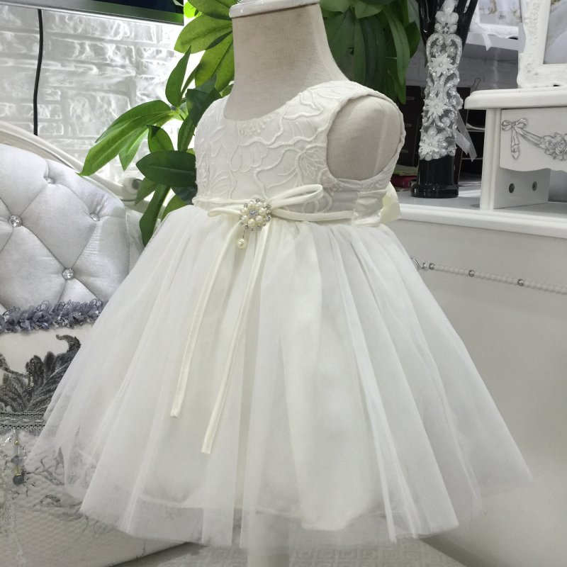 Free Shipping Lace Infant Party Dresses 2018 New Arrival ivory baby Dress Embroidery 1 Year girl birthday Gown factory Wholesale
