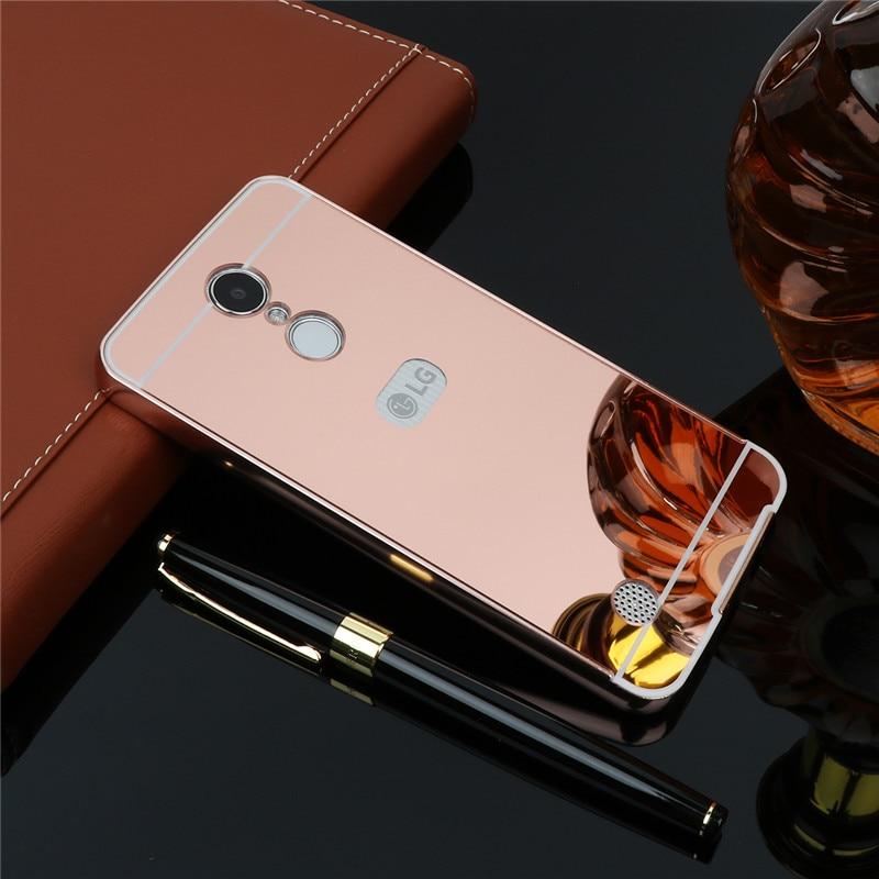 Luxury Plating Mirror Case For LG V20 V30 Plus X Power Aluminum Metal Frame+plastic Back Cover Case For LG Aristo stylus 3