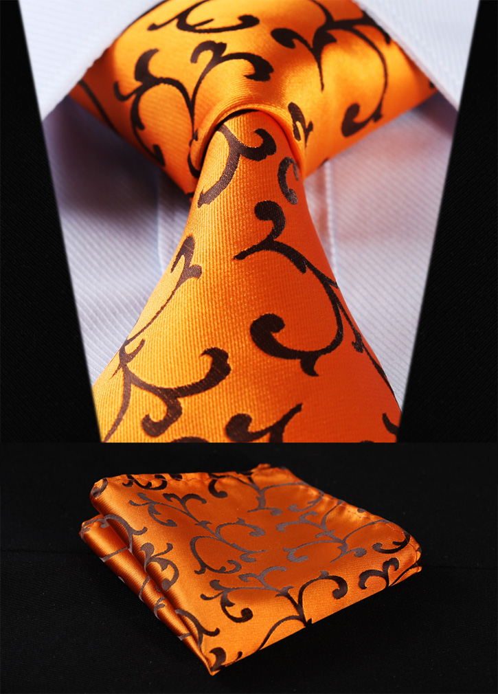 Party Wedding Classic Pocket Square Tie TF2001D8S Gold Orange Floral 3.4