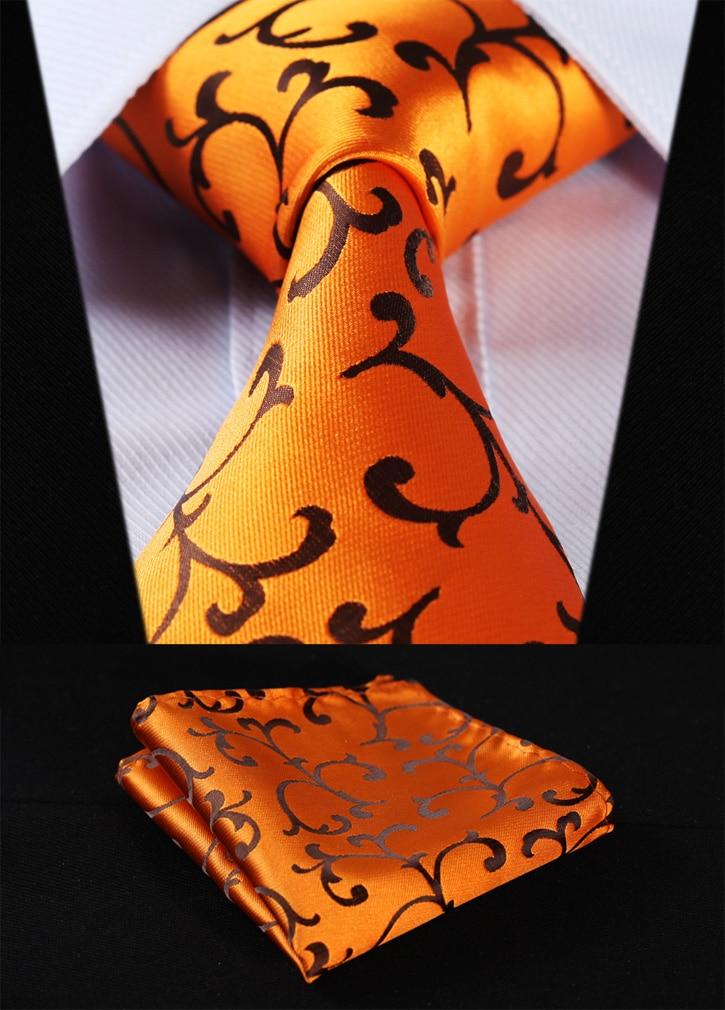 "Party Wedding Classic Pocket Square Tie TF2001D8S Gold Orange Floral 3.4"" Silk Woven Men Tie Necktie Handkerchief Set"