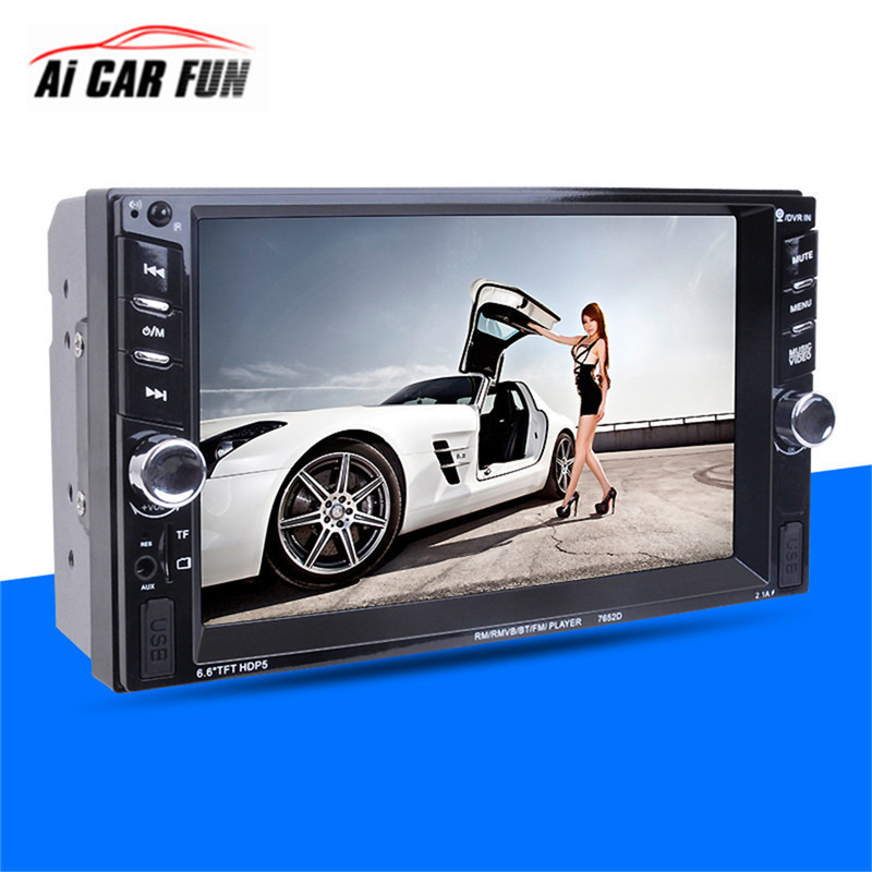2DIN Car Radio Player autoradio 6.6 HD Touch screen 7652 Stereo FM/MP3/MP5/Audio/USB Auto Electronics Bluetooth Rear View Camera цена