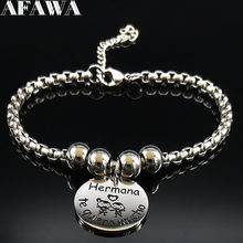 2019 Hermana te quiero mucho Stainless Steel Bracelets for Women Silver Color Charm Bracelet Jewelry pulseras mujer moda B18308(China)
