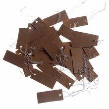 Etiquettes de prix en papier Kraft brun, 17x40mm, 100 pièces, pour faveurs de mariage, avec cordes