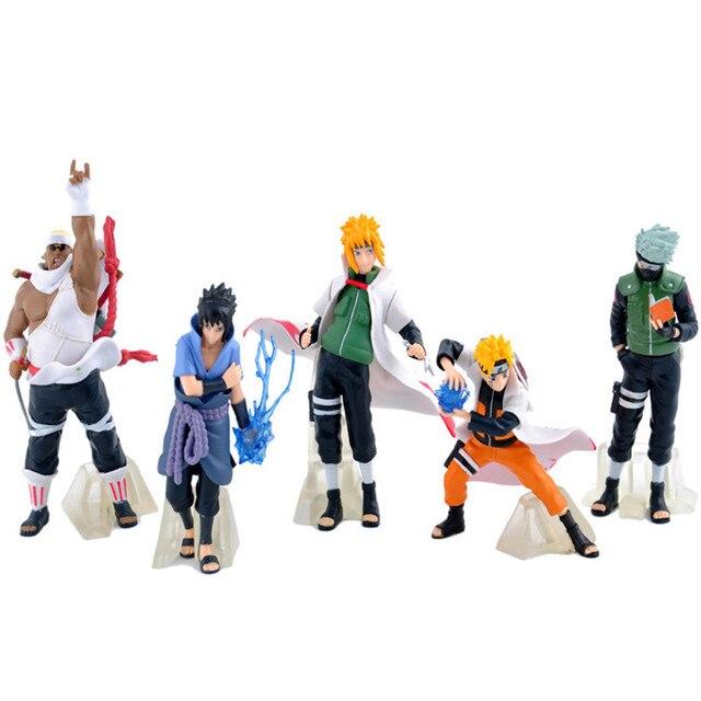 New Arrive 5 Pcs/set Naruto Action Figure Classic Toys Cool Naruto Kakashi Sasuke Uzumaki Figure Anime Model for Baby Kids WJ434
