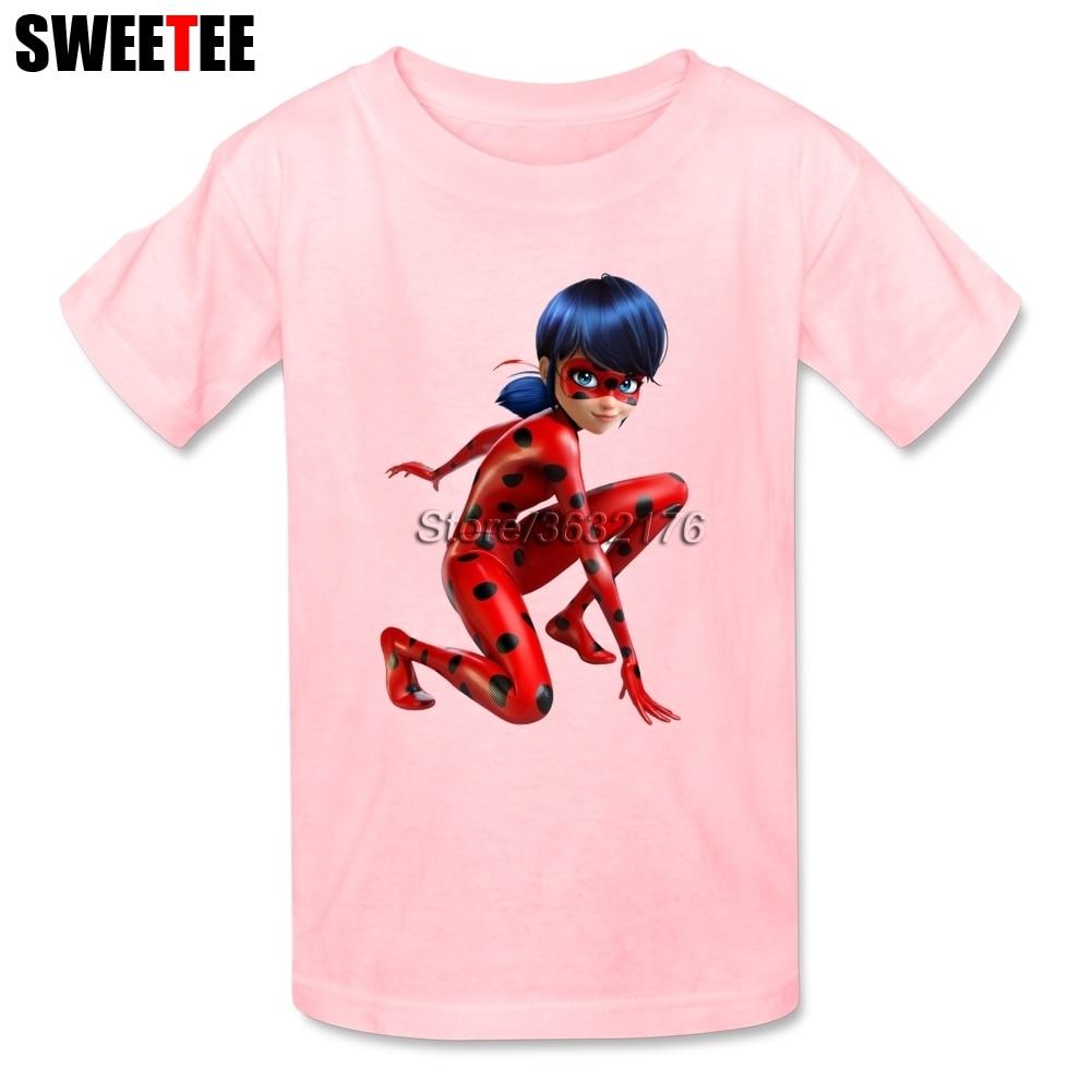 Boys Girls T Shirt 100% Cotton Short Sleeve Crew Neck Tshirt childrens Garment 2018 Unique Ladybug T-shirt For Baby