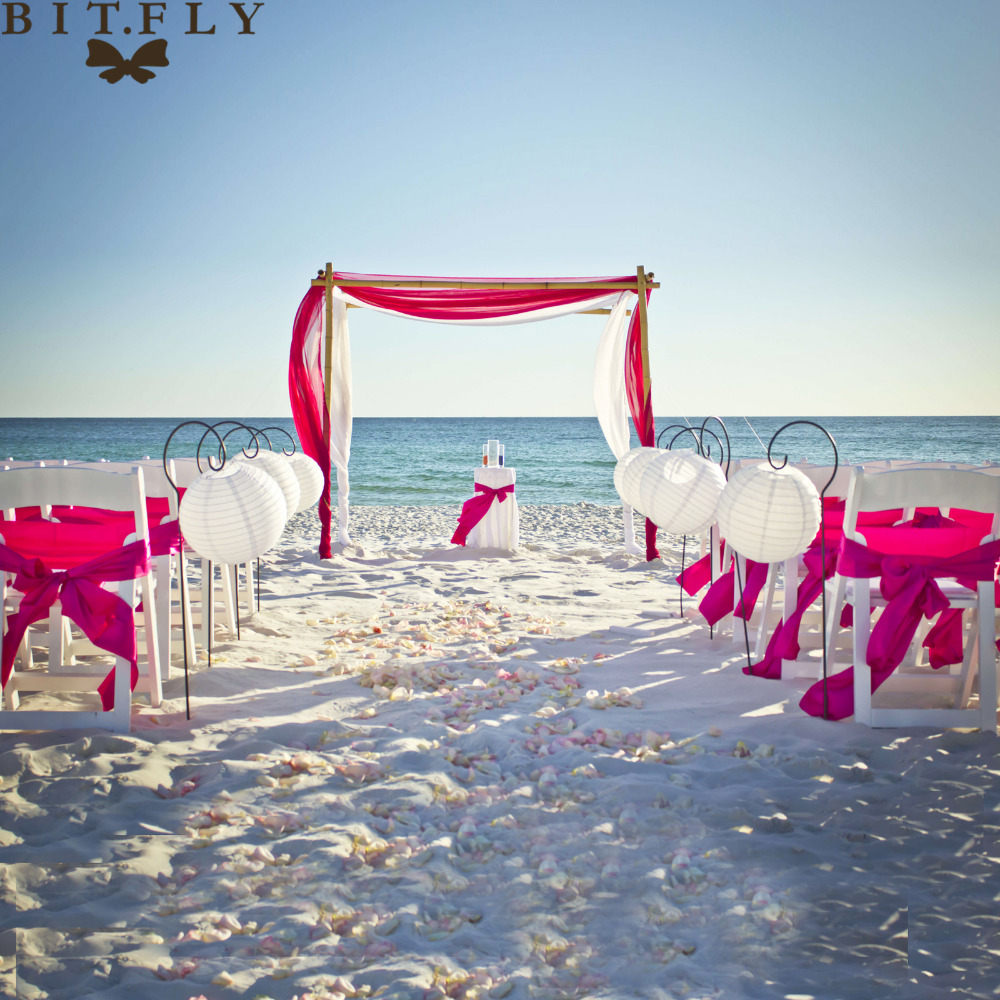 1set romantic beach theme wedding decoration organza chair sash