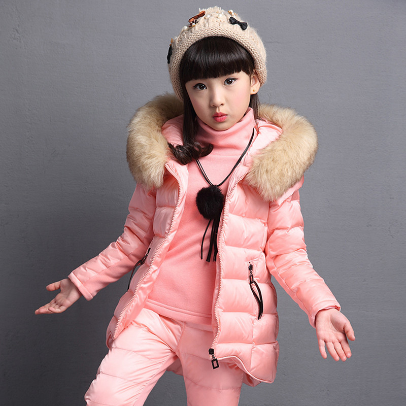 Children Jacket for Girl New 2017 Winter Kids Girls Three Piece Suits Children's Thicker Vest Coat +sweater+pants Sports Suits 2014 designer children s tracksuits kids sport sweater pants in winter 1 5age 1set retail kid apparel baby lamb thicker section