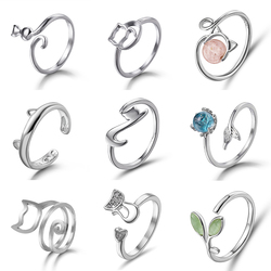 Rinhoo New Fashion Cute Animal Opening Ring Cat Claw Dog Paw Women Girl Simple Gift Jewelry Open Adjustable Cat Ear Finger Rings