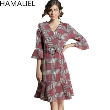 HAMALIEL Red Plaid Women Mermaid Office Lady Dress 2018 Spring Autumn Flare Sleeve Bodycon Sexy V Neck Formal Dress With Belt
