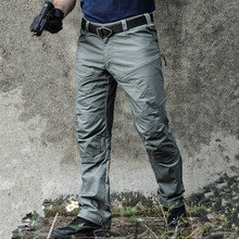 Wojskowe taktyczne spodnie w stylu cargo mężczyźni specjalne siły armii spodnie bojowe SWAT wodoodporny duża wielu kieszenie bawełniane długie spodnie S-2XL tanie tanio Pełnej długości Wojskowy Lycra Poliester Elastan Mieszkanie Suknem Sznurek Cargo pants Midweight REGULAR S M L XL 2XL
