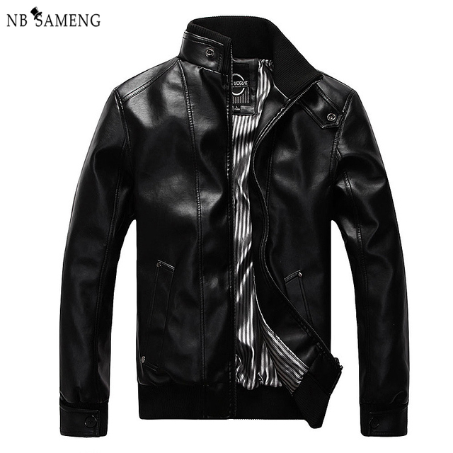 Spring Autumn New Fashion Male Leather Jacket Plus Size XXXL 4XL 5XL Black Brown Mens Mandarin Collar PU Coats nswt3075