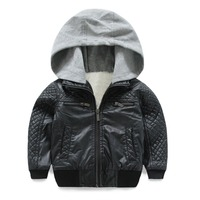 Mudkingdom Boys Winter Faux Leather Bomber Jacket Faux Lambswool Lining Cotton Hooded Warm Kids Outerwear Children Clothing