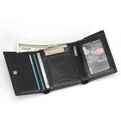 Teemzone-акция, топ, натуральная кожа, три сложения, тонкий мужской кошелек, кошелек, водительские права, кредитная карта, чековый держатель, ID Ок...