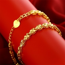 Gold-plated bridal temperament wedding jewelry imitation gold bracelet female four-leaf clover fashion accessories