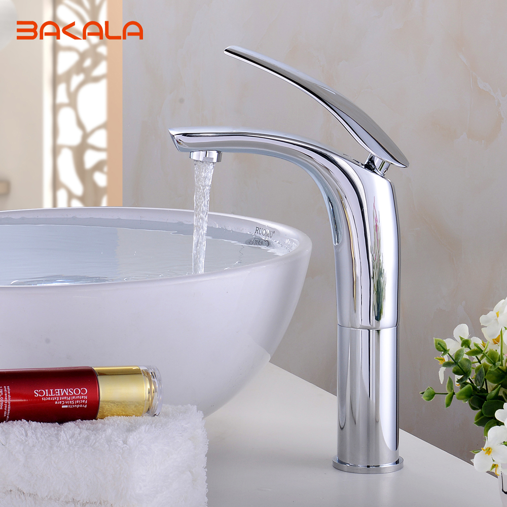 Free Shipping BAKALA Short / Tall version Bathroom Faucet  Chrome Finish Brass Basin Sink Faucet Mixer Tap Single Handle BR-1535 bakala free shipping bathroom basin sink faucet wall mounted waterfall chrome brass mixer tap lt 324