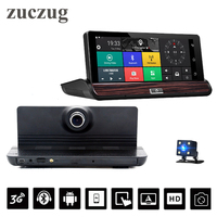 Sale Dashboard 7 3G Wifi Car DVR Camera Android 5.0 GPS Navigation Video Recorder Bluetooth Dual Lens FHD1080P 1GB RAM Rear