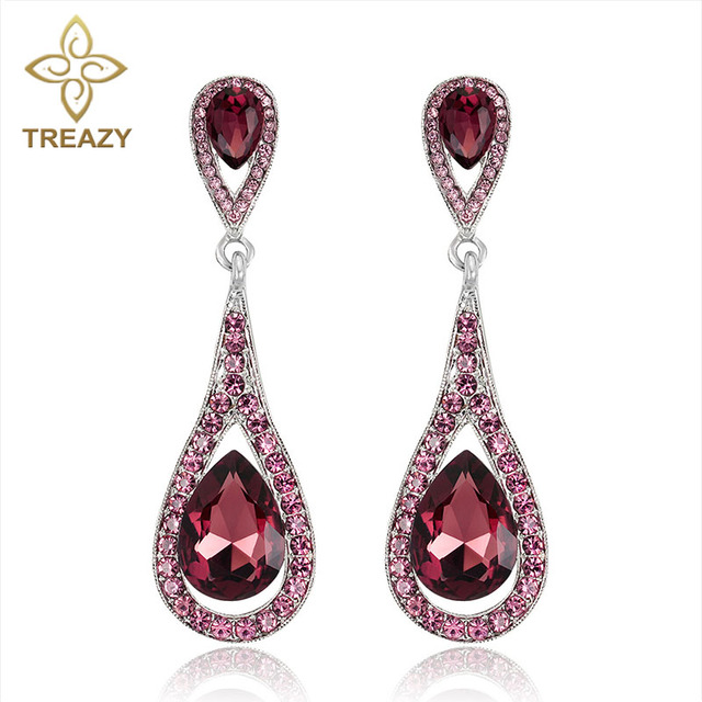 Treazy Wine Red Crystal Drop Earrings For Women Statement Fashion Jewelry Wedding Party Long Dangle