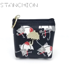 STANCHION Women Small Umbrella Decor Leather Coin Purse Mini Wallet Card Holder Zip Coin bag Clutch Handbag For Kid Girl
