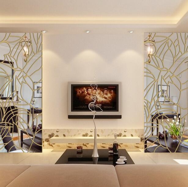 Nouvelles feuilles décoratives miroir Stickers muraux Restaurant acrylique miroir stickers muraux pour salon TV fond décor à la maison