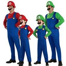 Adult Men Super Mario Brothers Costume Children cartoon cosplay Women party Halloween Luigi Plumber Costumes