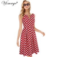 Vfemage Womens Elegant Vintage Summer Polka Dot Zip Up Wear To Work Business Casual Party Fit