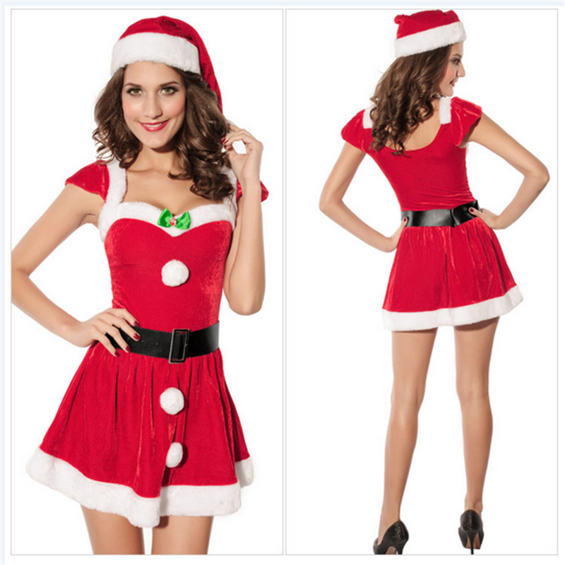 Sexy Girl Halter Christmas Dress Nightclub stage performance Xmas Lingerie uniform temptation new high quality Christmas clothes