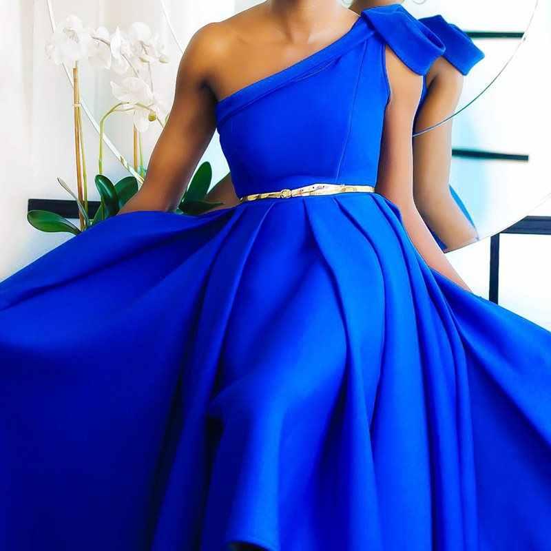 Elegant Blue Een Schouder Floor Lengte Party Avondjurk Plus Size Sexy Mouwloze Geplooide EEN Lijn Vrouwen Lange Maxi Jurk 2019