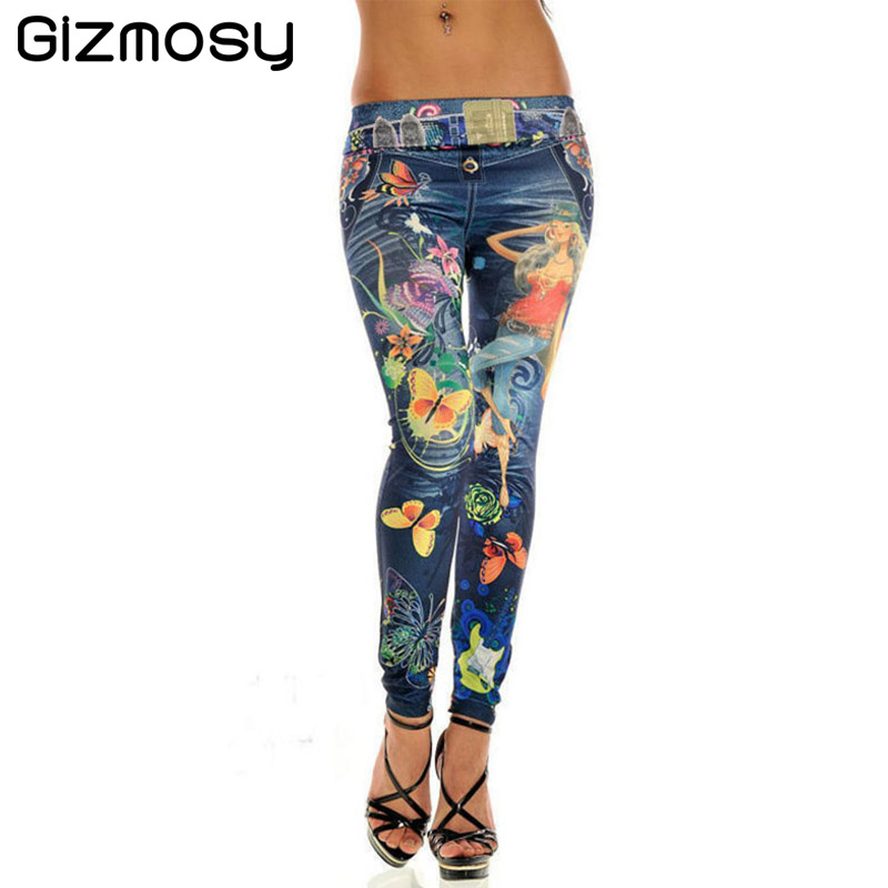Slim Women Sexy Seamless Imitation Cowboy Pants Printed Leggings Elasticity Butterfly Pant For Girl Spring Summer SY089 Лосины