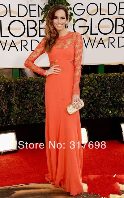 69c5c08cae0a 71st Golden Globe Awards 2014 Louise Roe Orange Chiffon Long Sleeves Lace  Evening Dresses Floor Length Celebrity Red Carpet