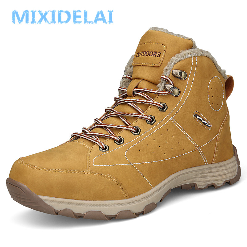 MIXIDELAI New Men Boots Winter With Fur 2019 Warm Snow Boots Men Shoes Footwear Fashion Male Rubber Winter Ankle Boots Size 46