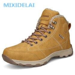 Mixidelai novos homens botas de inverno com pele 2019 quente botas de neve calçados masculinos moda borracha inverno tornozelo botas tamanho 46