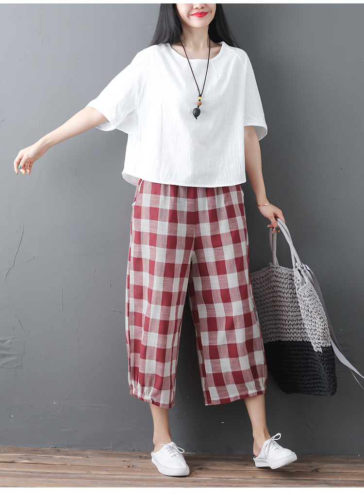 2019 Cotton Linen Two Piece Sets Women Plus Size Half Sleeve Tops And Wide Leg Cropped Pants Casual Vintage Women's Sets Suits 54