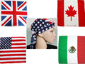 100%Cotton Hair Bandana Beanie Tie Down Hat Head Wrap USA UK Canada Mexico Flag Scarf,12pcs/lot free shipping