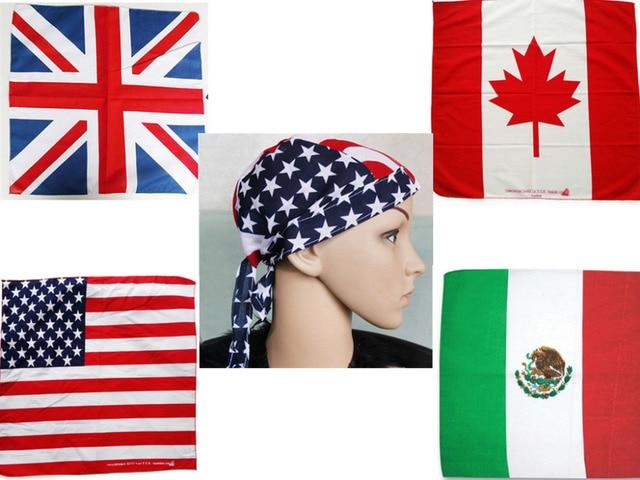 100% baumwolle Haar Bandana Beanie Binden Hut Hauptverpackung USA VEREINIGTES KÖNIGREICH Kanada Mexiko Flagge Schal, 12 teile/los kostenloser versand