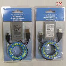 2X 1800mAh Battery+Charger Cable PS3 for Sony PlayStation3 Wireless Controller Rechargeable Batteries Li-Ion Lithium 3.7V original rechargeable li ion battery pack lip1472 for sony ps3 dualshock 3 wireless controller replacement part new edition