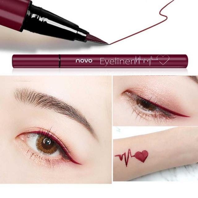 1pcs Eyeliner Waterproof And Sweat Not Dizzy Catch Wine Red Brown Liquid Eyeliner Pen Eye Makeup For Beauty Makeup Beginners 3