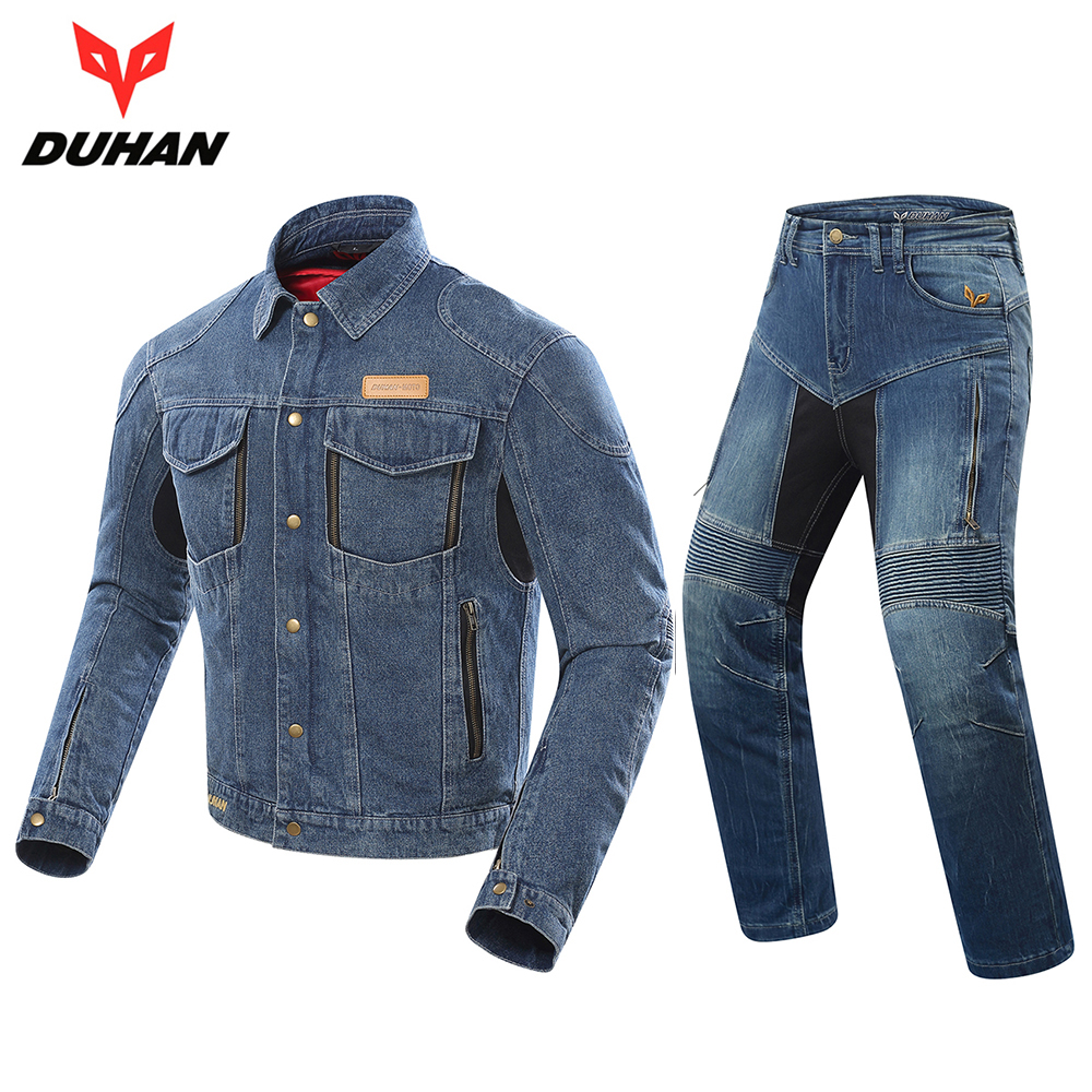 DUHAN Motorcycle Jacket Men's Riding Jeans Jacket Motocross Windproof Moto Jacket Protective Gear Removable Warm Lining Coat