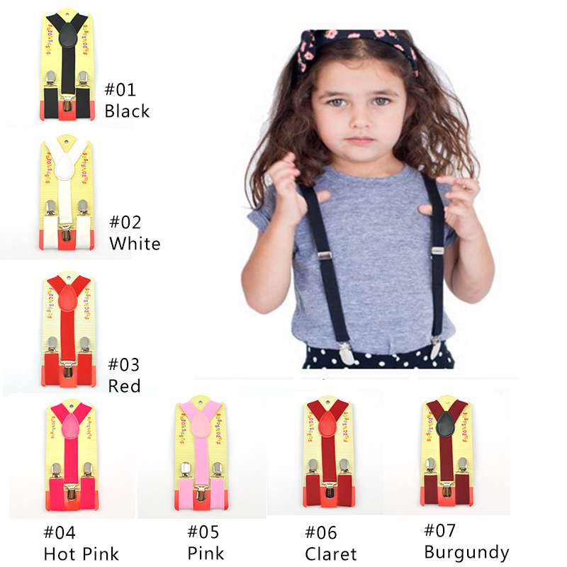Drop Shipping-KIDS Suspenders 2.5cmx65cm New 36colors Mix BOYS/GIRLS Suspender Elastic Braces Slim Suspender Y-back Suspenders