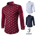 2015 new European and American all-match Mens skeleton Star printing long sleeve shirt
